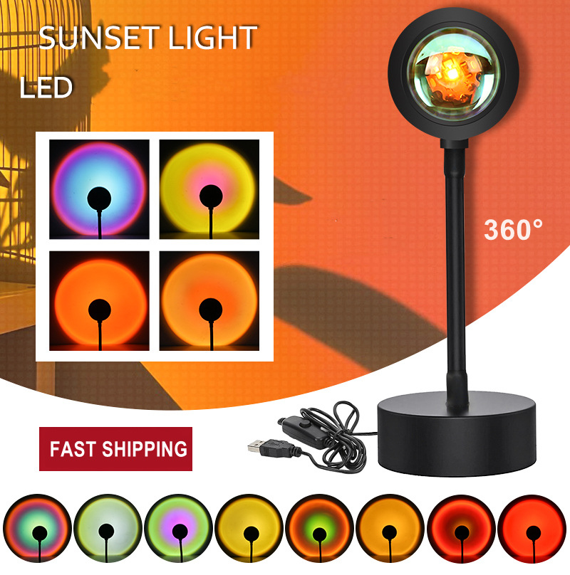 NEW LED RGB Sunset Red Projector Night Light Sun Projection Lamp for Bedroom Bar Coffee Store Wall Decoration Lighting USB