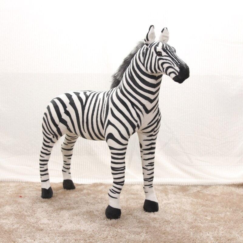 90cm grand joli zèbre debout vivant simulé animaux en peluche peut monter modèle enfants monter decorat peluche poupée enfants jouet cadeau
