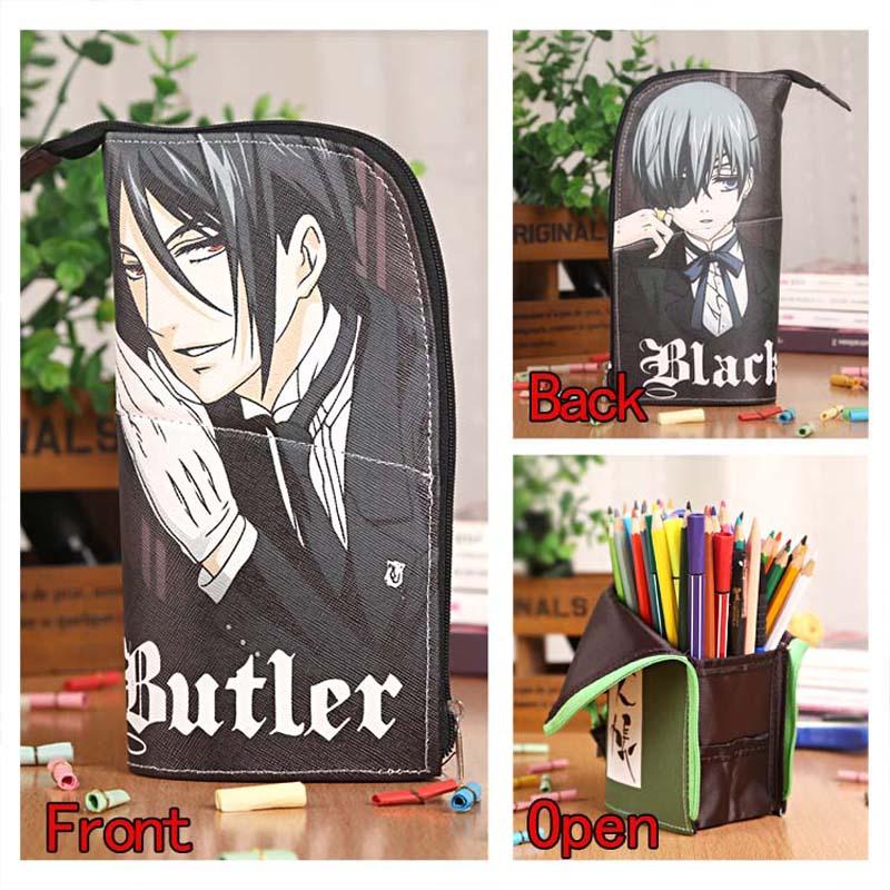 Anime Black Butler Sebastian&Ciel Waterproof PU Stationery Pouch/Brush Pot/Pen Holder/Pencil Case Bag/Office School Supplies