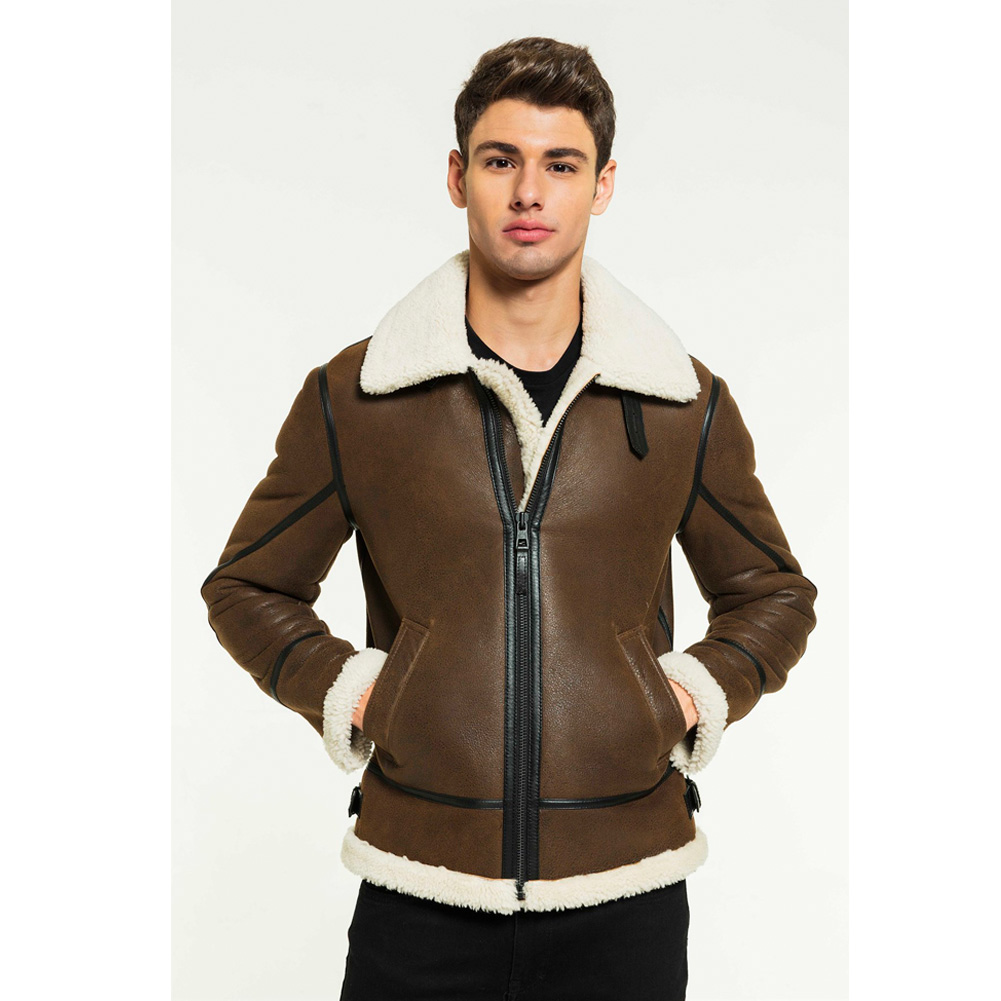 2019 New Mens Brown Shearling Jacket Turkey Bomber Jacket Short Fur Coat Mens Winter Coats