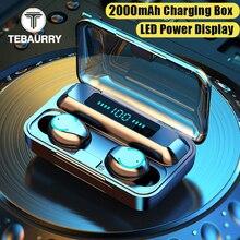 Fones de ouvido 9d bluetooth, tws v5.0, touch, estéreo, grave, sem fio, esportes, à prova d água, mini, com estojo de 2000mah
