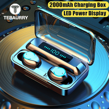 TWS V5.0 Touch Bluetooth Earphone 9D Stereo Bass Wireless Earphones Headphone Sports Waterproof Mini Earbuds with 2000mAh Case