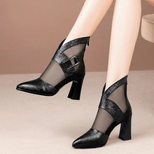 Spring and Summer 2021 New Thick Heeled Boots Women's Mesh Breathable High Heeled Sandals Women's Sandals