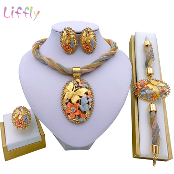 African Jewelry Charm Necklace Earrings Dubai Gold Jewelry Sets for Women Wedding Bridal Bracelet Ring Pendant Jewelry Set