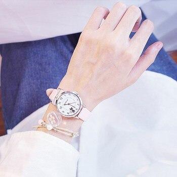 1PC New Students Children Pink Watch Girls Leather Child Hours Black Cat Quartz Wristwatch Round Analog Clock Wrist Watches 2