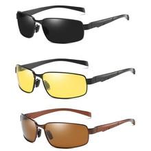Мужские очки для вождения с антибликовым покрытием, желтые солнцезащитные очки, металлические очки с защитой ночного видения, поляризованные очки