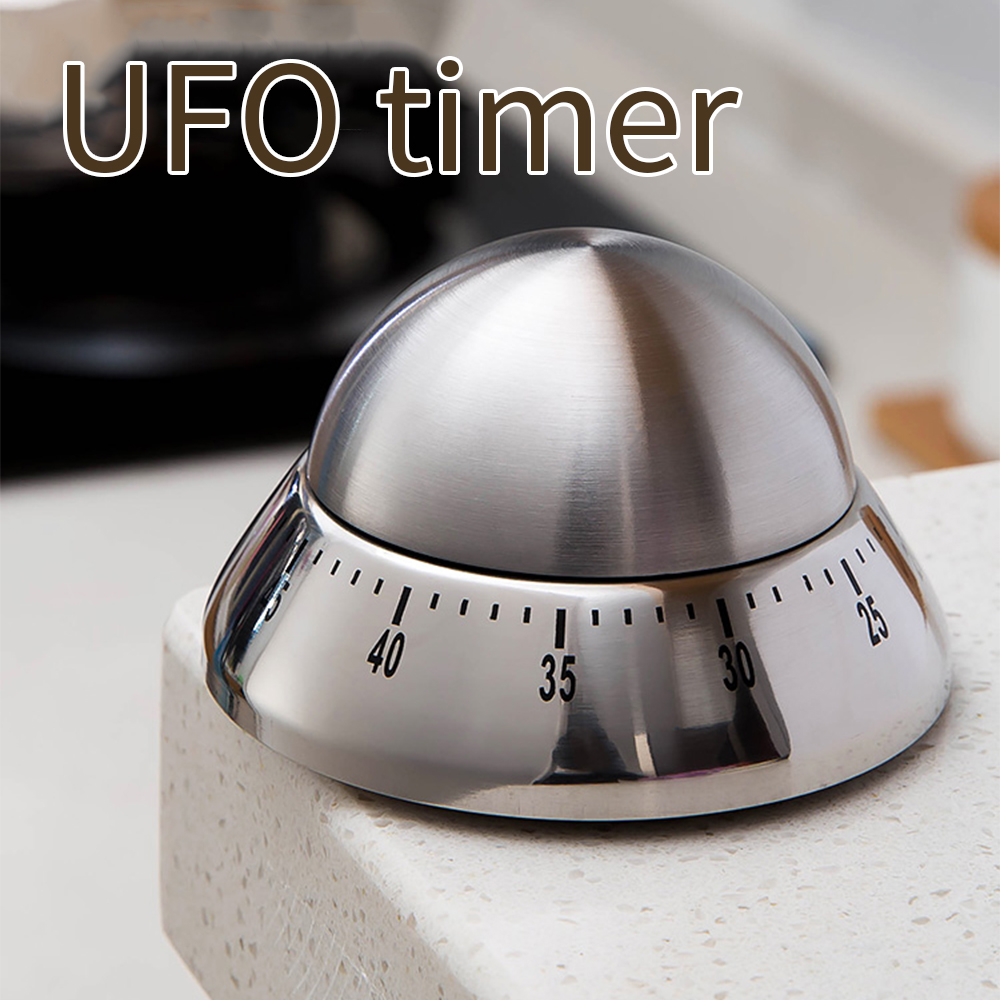 Kitchen timer stainless steel cooking eggs 60 minutes mechanical alarm clock baking cooking tools countdown time management-5