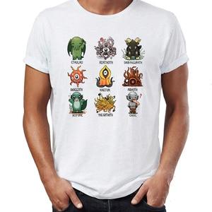 Мужская футболка Lil Lovecraft Monsters Shoggoth Deep One Ghoul Abhoth Hastur Azathoth Cthulhu, футболка с принтом