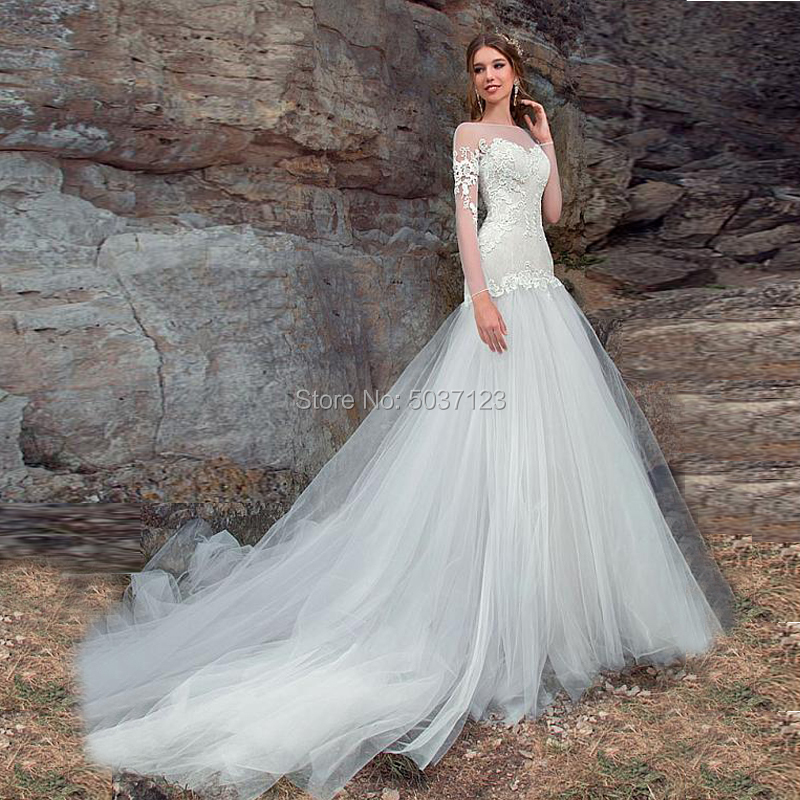 Mermaid Wedding Dresses O Neck Long Sleeves Lace Appliques Lace Up Bridal Gown Court Train Vestido De Noiva Custom Made