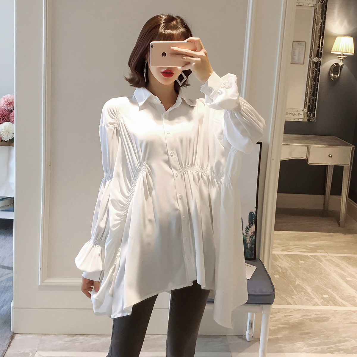 Korean Fashion Maternity Clothes Irregular Hem Clothes for Pregnant Women Spring Autumn Comfortable Pregnancy Women's Clothing
