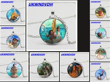 2019 new pendant with Moana movie pattern, sweater necklace fashion crystal necklace.