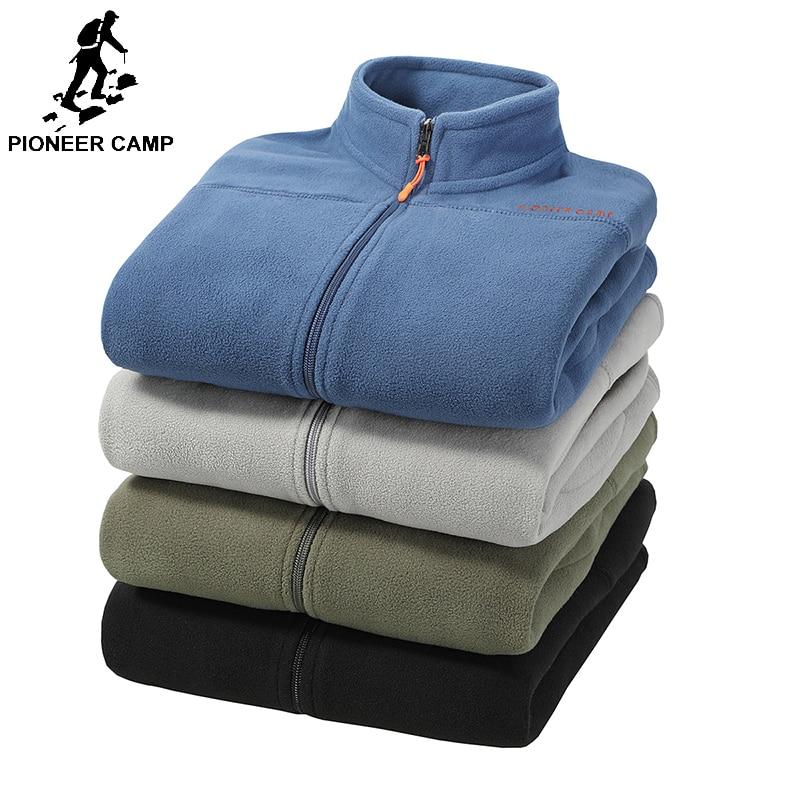 Pioneer Camp 2018 Warm Fleece Mens Hoodies Spring Winter Zipper Sweatshirts Male Quality Men Clothing Brand Dark Blue