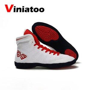 Белая мужская обувь для борьбы, дышащие противоскользящие тренировочные кроссовки, мужская Профессиональная мягкая обувь для бокса, Новин...