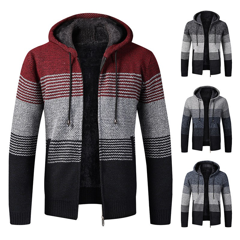 2020 Winter Mens Coats And Jackets Casual Patchwork Hooded Zipper Coats Men Fashion Thick Wool Jacket Men Streetwear