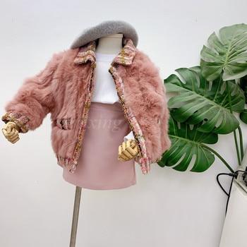 2019 new children's fur children's clothing stitching thickened girls real rabbit fur stitching fur fashion