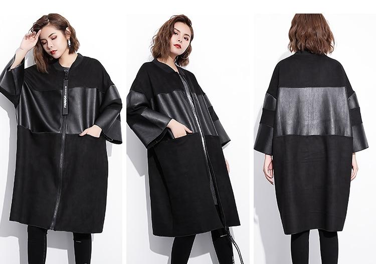 Hb090be9bb89b4095a83e4580233c7dfbj [EAM] Loose Fit Black Pu Leather Spliced Big Size Jacket New Stand Collar Long Sleeve Women Coat Fashion Autumn 2019 JC2530