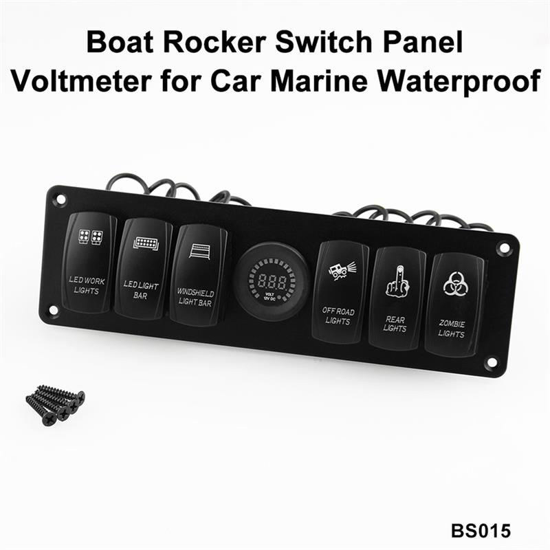 Elviray DC Flat Waterproof 6 Gang Toggle Rocker Switch Panel Car Marine Boat Circuit LED Breaker Voltmeter Aluminum Panel