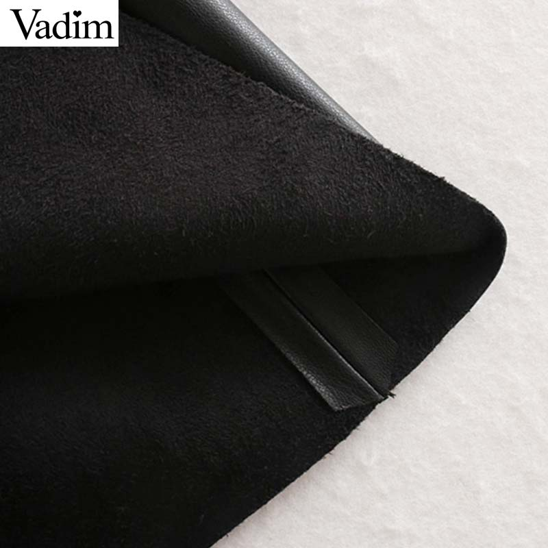 Image 5 - Vadim women chic PU leather midi skirt buttons decorate female basic stylish black A line mid calf skirts mujer BA804Skirts   -