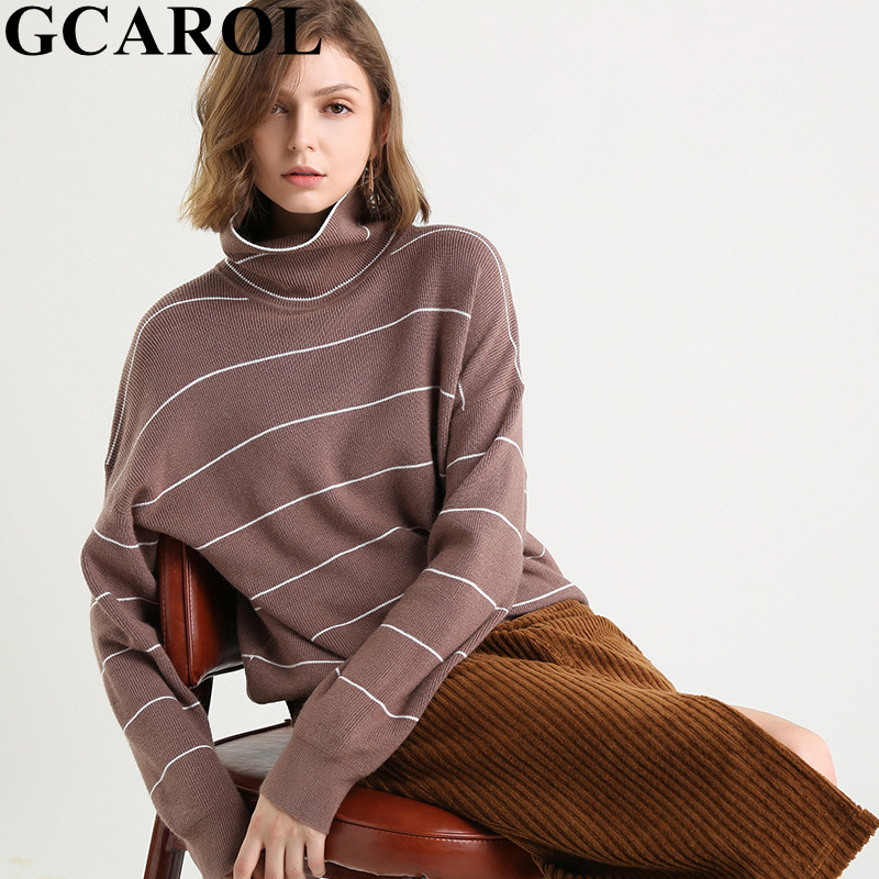 GCAROL New Fall Winter Women Turtleneck Cashmere Sweater 30% Wool Stripes Thick Jumper Female Loose Lazy Knitted Pullover XL