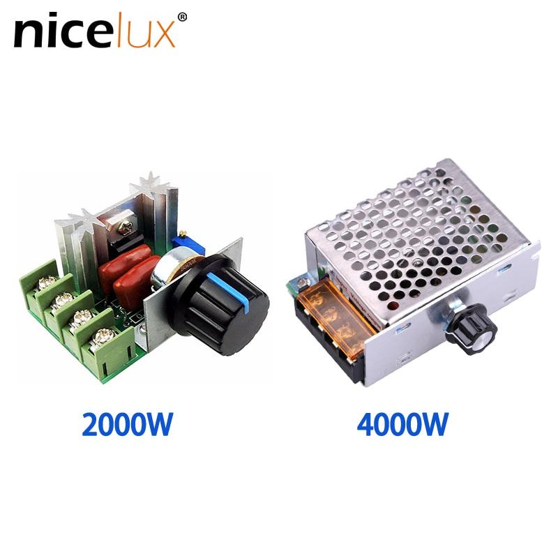 Высокомощный Тиристор 2000/4000 Вт, электронное напряжение переменного тока 220 В, регулятор, регулировка скорости и температуры с защитной обол...