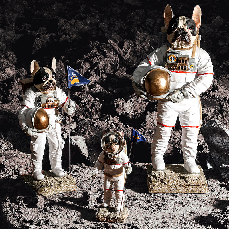Creative Space Dog Cat Statue Astronaut Figurine Resin Sculpture Home Office Bar Store Decoration Ornament Crafts Dropshipping