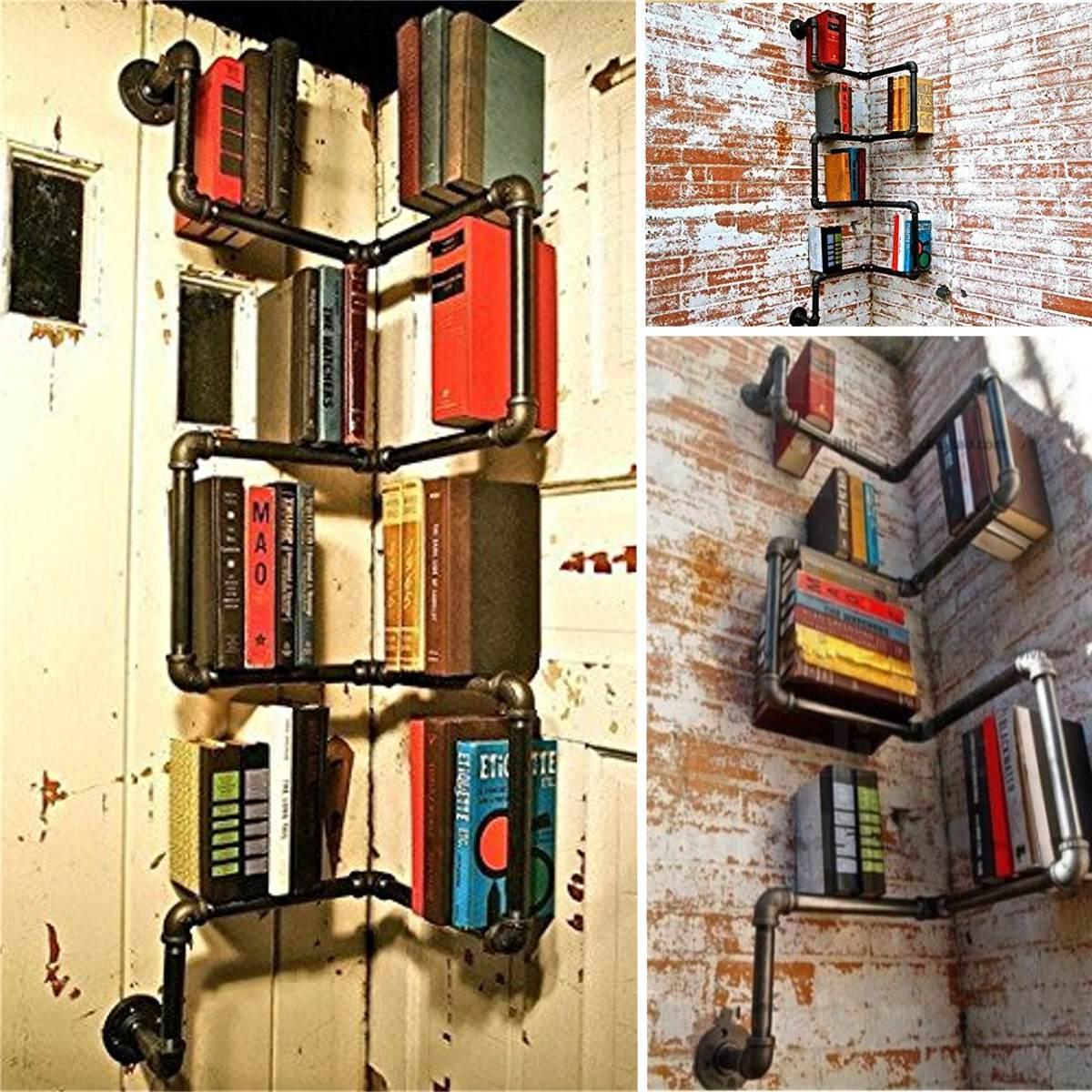 Industrial Urban Gaya Pipa Rak Penyimpanan Rak Buku Dinding Mount DIY Hitam Besi Dekorasi