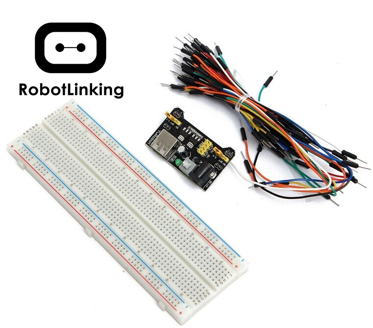 3.3V/5V MB102 Breadboard Power Module+MB-102 830 Points Solderless Prototype Breadboard Kit +65 Flexible Jumper Wires
