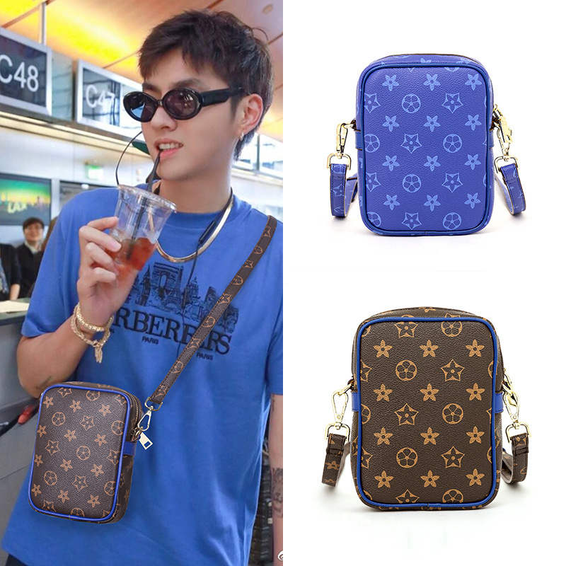 New Style Fashion Korean-style Men Mobile Phone Bag Printed Camera Bag Mini Versatile Modern And Trendy/women Crossbody Bag