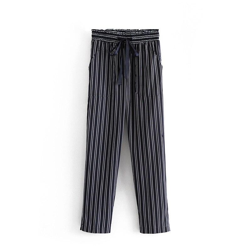 Western Style New Style WOMEN'S Dress Wholesale Stripes Flowing Casual   Pants   Lace-up   Capri     Pants