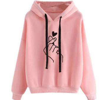 EBay AliExpress Amazon Hot Selling Europe And America Hot Selling Printed Heart Hooded Loose-Fit Hoodie Women's Foreign Trade Cu