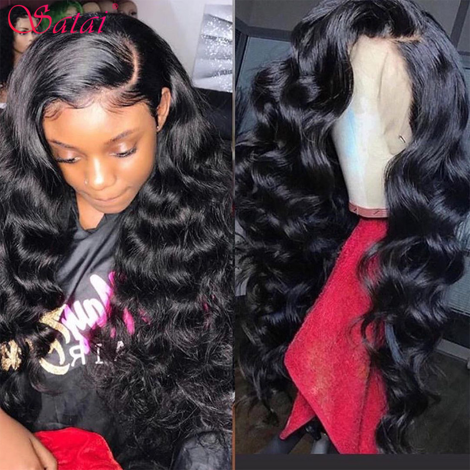 Satai Brazilian Loose Wave 13*6 Lace Front Wigs 150/180 Density Lace Front Wig Pre Plucked With Baby Hair Remy Human Hair Wigs
