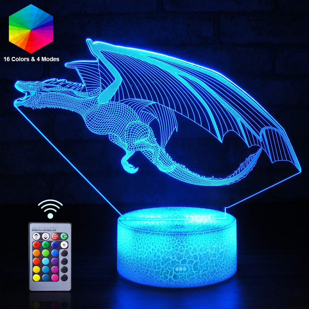 3D Dinosaur Night Lights Winged Dragon 16 Color LED NightLight Animal Pterosaur Remote Table Lamp Kid Birthday Gift Home Decor