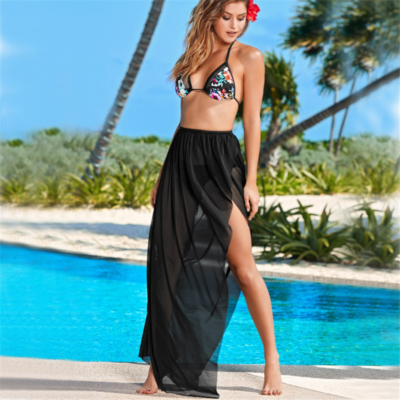 Solid Black Open Free Tied Elasticity Mesh Cloth Beach Skirt Sexy Slit Holiday Skirt Women's