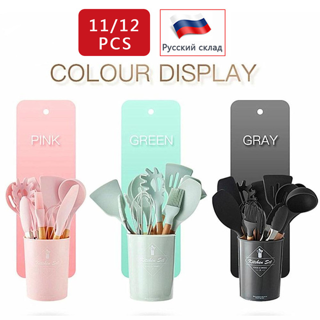 Silicone Kitchen Set 12-Pcs Wooden Kitchen Accessories Cooking Utensils Sets with Spatula Ladle Spoons Kitchen Tools Kitchenware