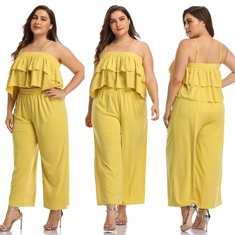 19234 Amazon Hot Selling Europe And America WOMEN'S Dress Wish Large Size Solid Color Camisole Short Jacket + Wide-Leg Trousers