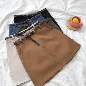 Image 2 - חצאיות נשים רטרו מוצק אלגנטי קוריאני סגנון גבוה מותן נשים כל התאמה רך גבירותיי קיץ שיק לנשימה כיסי חצאית 2020
