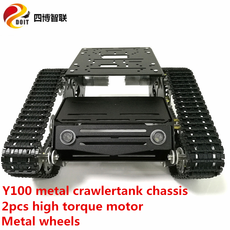 SZDOIT Unassembled Y100 Metal Tracked Tank Chassis Kit Smart Crawler Car Robot Frame 2pcs High Torque Motor DIY Education Toy