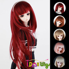 Heat resistant synthetic red wine khaki light blonde pink soft BJD doll wig with bangs 1/3 1/4 1/6 Colourful styles for choice
