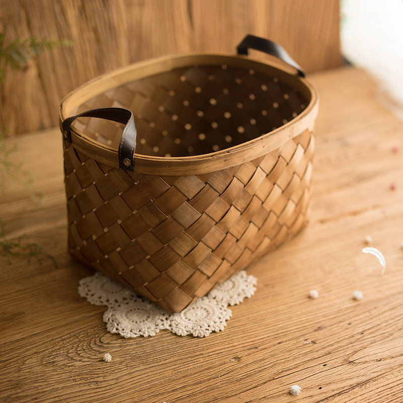 Newborn Props For Photograph Wooden Weave Leather Handle Basket Photo Props Infantil Studio Accessories Baby Photography Basket