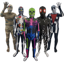 Adult Kids Halloween Day Of The Dead Horrible Mummy Cosplay Costume Zentai Ghost Bodysuit Suit Jumpsuits