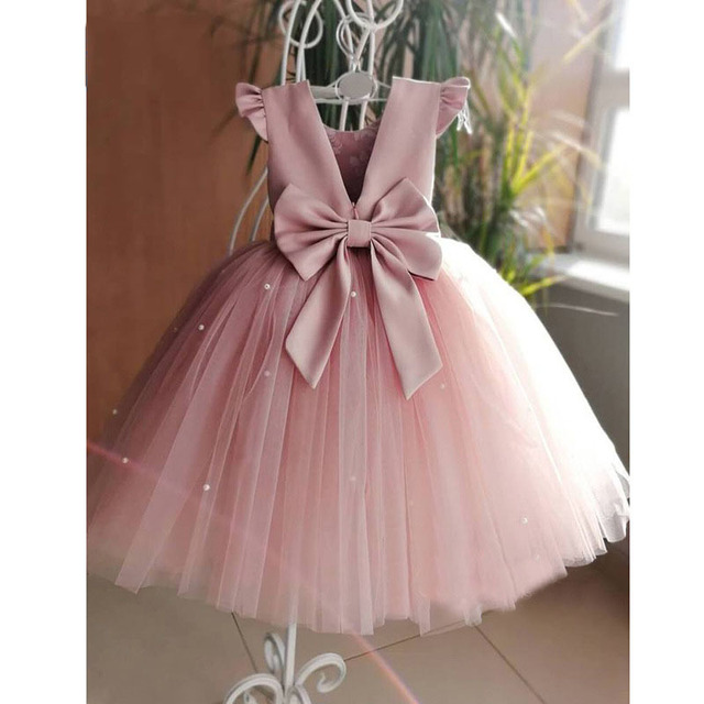 2020 New Peach Pink Flower Girls Dresses For Wedding Beading Backless Girl Birthday Party Evening Dress Tulle Princess Ball Gown