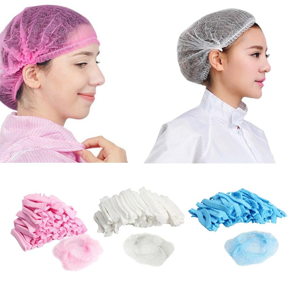 100Pcs Disposable Hair Caps Tanning Cap Catering Food Elasticated Hair Nets Shower Bathing Cap Hair Salon Caps