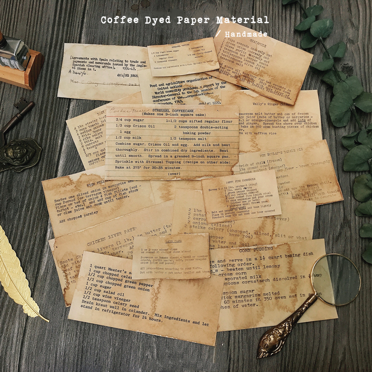 Handmade Coffee Dyeing Paper Material Background Journal Decoration Supermarket Ticket Label Paper DIY Scrapbooking Craft Paper