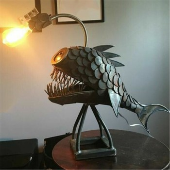 New Creative Angler Fish Desk Lamp Shark Desktop Night Light Usb Metal Art Lantern Table Decoration Bedroom Home Decoration Gift 1