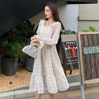 New Arrival 2019 Autumn Korea Fashion Women Long Sleeve Square Collar A line Long Dress Retro Sweet Plaid Ruffle Dress S23