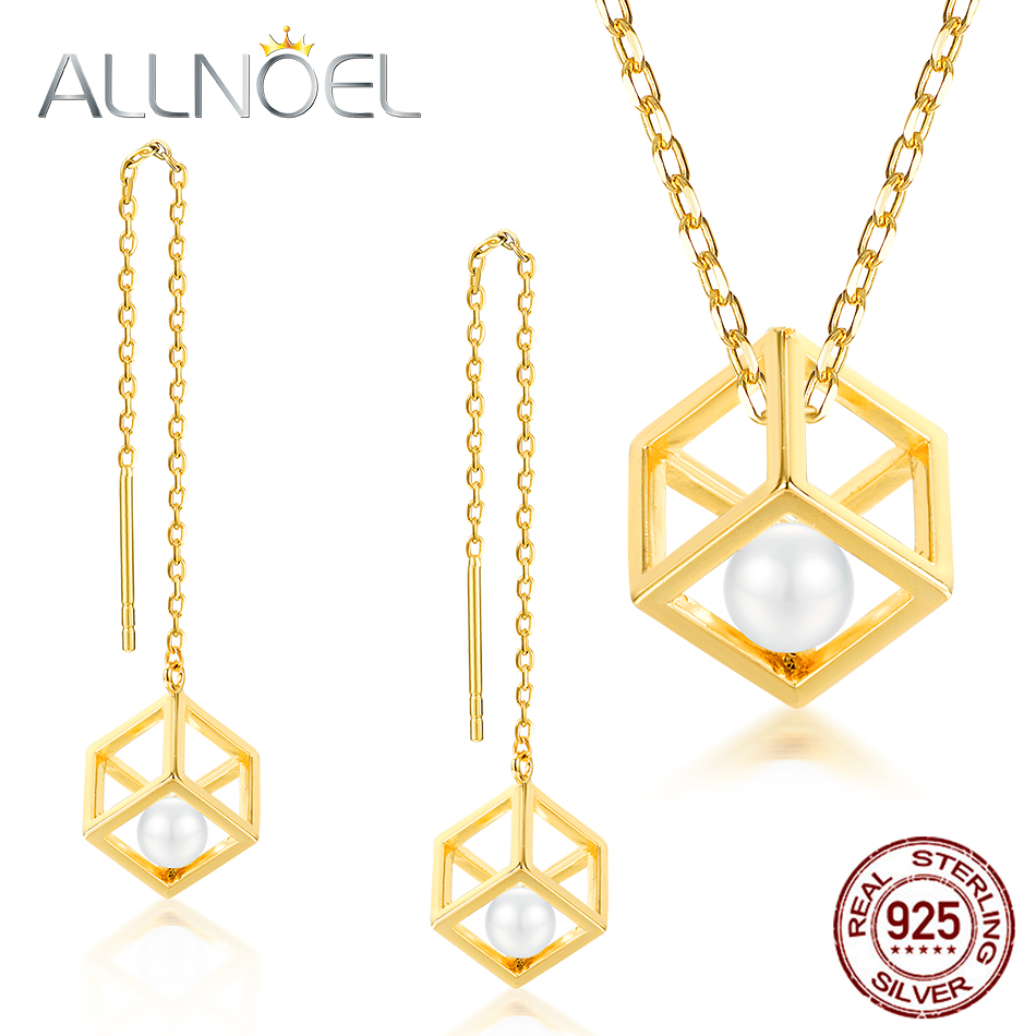 ALLNOEL Real 925 Sterling Silver Real pearl Combination Of Hollow Design Gold Color Necklace Earrings Jewelry sets For Womem (1)