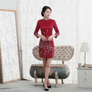 Image 3 - Vestido De Debutante Autumn 2020 New Fashion Retro Cheongsam Dress Quality High end Factory Direct Sale Women With Nine Sleeves