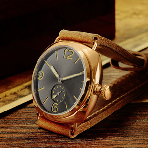 Image 4 - Часы San Martin из бронзы, деловые повседневные Простые мужские кварцевые часы с кожаным ремешком, светящиеся водонепроницаемые до 200 м