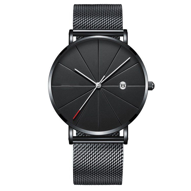 Stainless Steel Sports Mens Watches Business Leisure Quartz WristWatch  Mesh Strap Ultra Thin Dial Date Clock Relogio Masculino