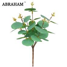 31cm 7 Fork Silk Leaves Artificial Eucalyptus Tree Branch Green Plants Real Touch Leafs Fake Bouquet For Home Autumn Decor